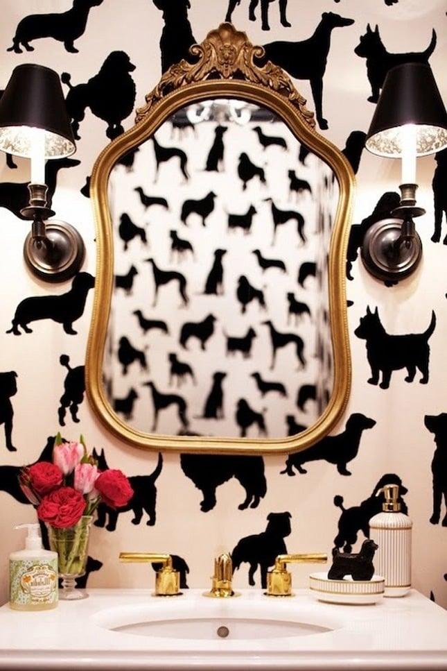luxus badezimmer ideen modernes bad ideen wandtapete tier motive schwarz