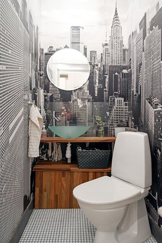 modernes bad ideen wandgestaltung badezimmer wandtapete