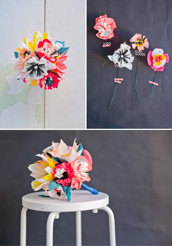Origami Blumen falten aus Krepppapier