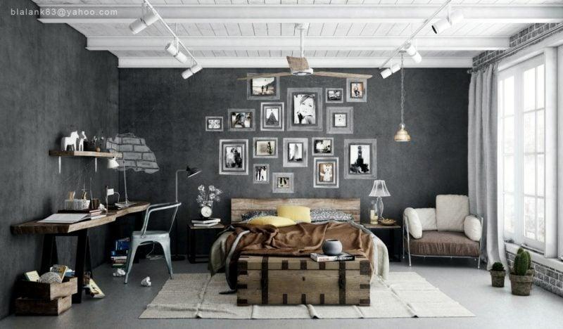 Schlafzimmer einrichten originelle Ideen industriellen Stil