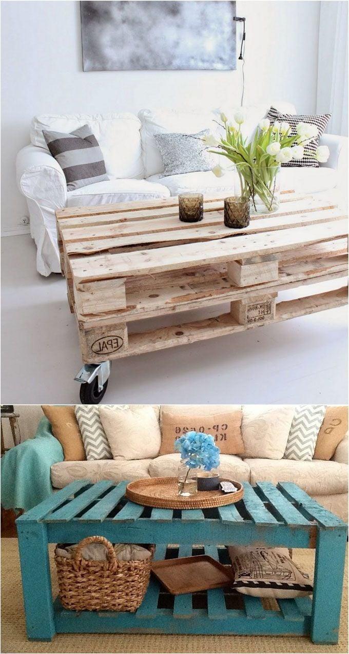 palettenmöbel selber bauen tisch aus paletten blau weiß