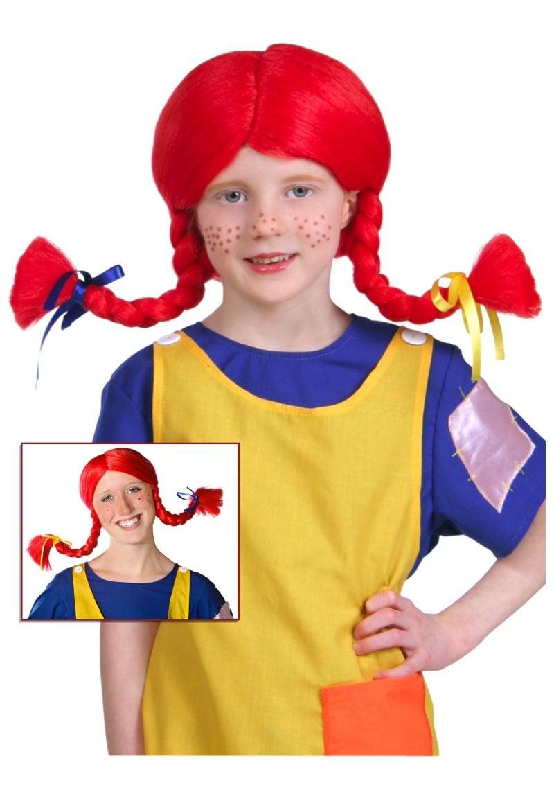 Pippi Langstrumpf Look schaffen - Kinderschürze nähen und Perücke aus Wolle basteln