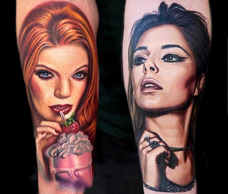porträt tattoo motive frauen arm farbig tattoos männer