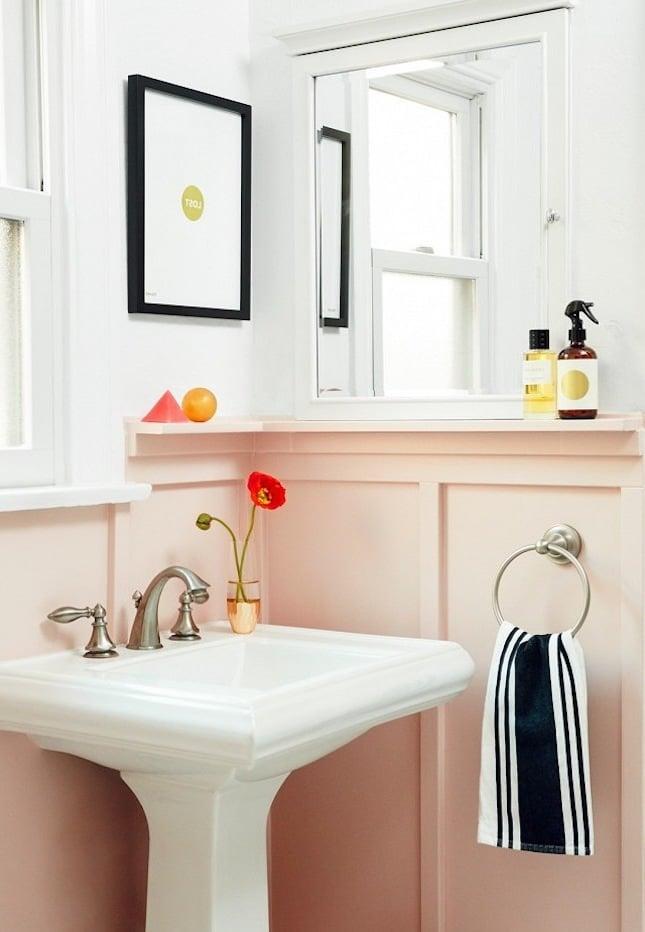 rosa farbe bad einrichten badezimmer ideen