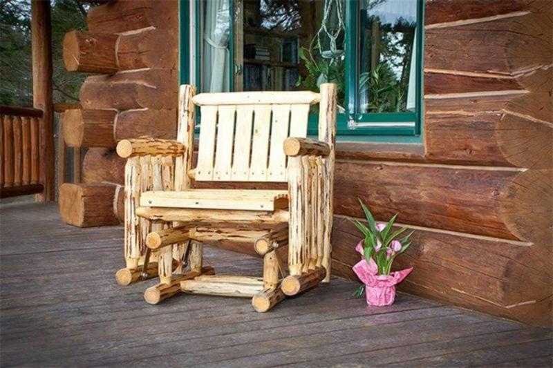rustikale gartenmöbel sitzmöbel stuhl holz teak blumen garten gestalten ideen