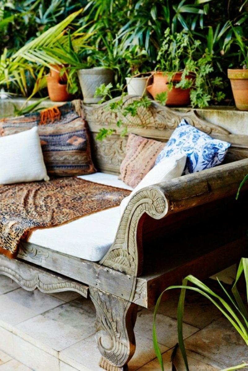 rustikale gartenmöbel teakholz sofa kissen gartenmöbel