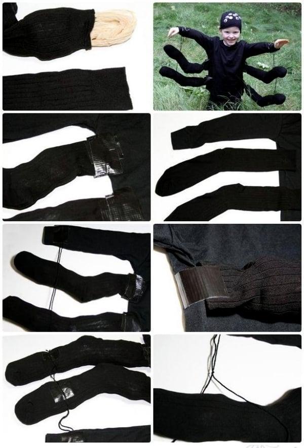 schwarze spinne kostüm coole accessoires fasching verkleidung selber machen einfaches kostüm karneval