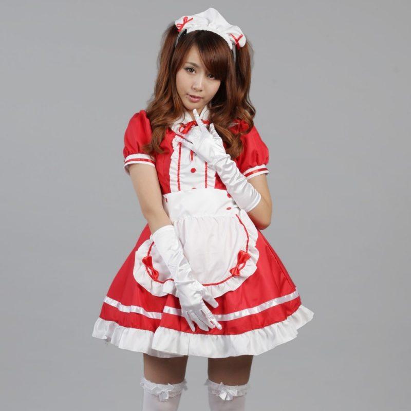 sexy fasching kostüm dienstmädchen rot weiß selber machen