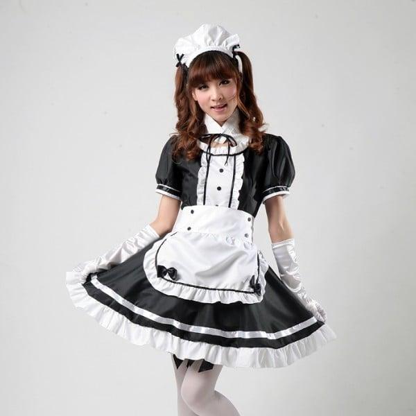 sexy fasching kostüm dienstmädchen scwarz weiß mini rock coole accessoires