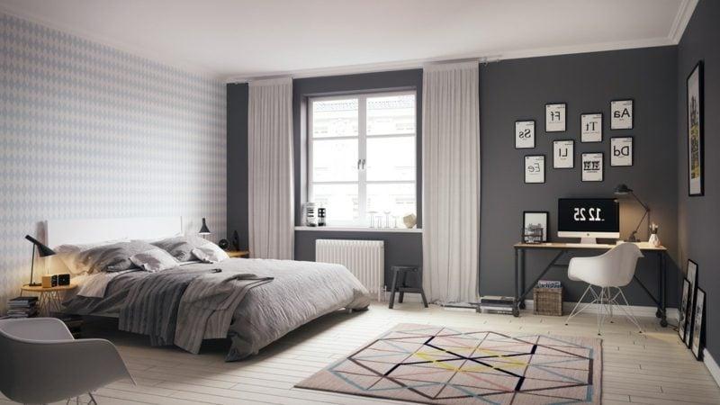 modernes Schlafzimmer einrichten skandinavisch geometrische Motive