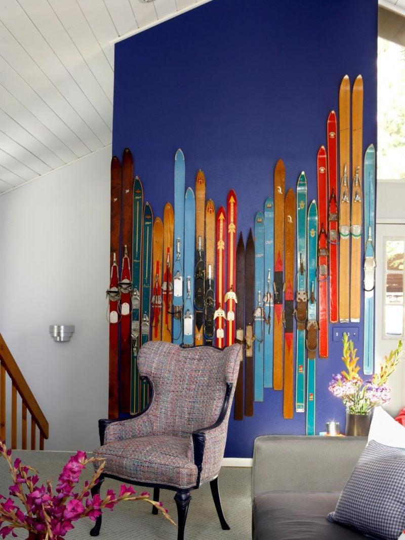 ski dekoration wand wohnzimmer einrichten diy deko ideen