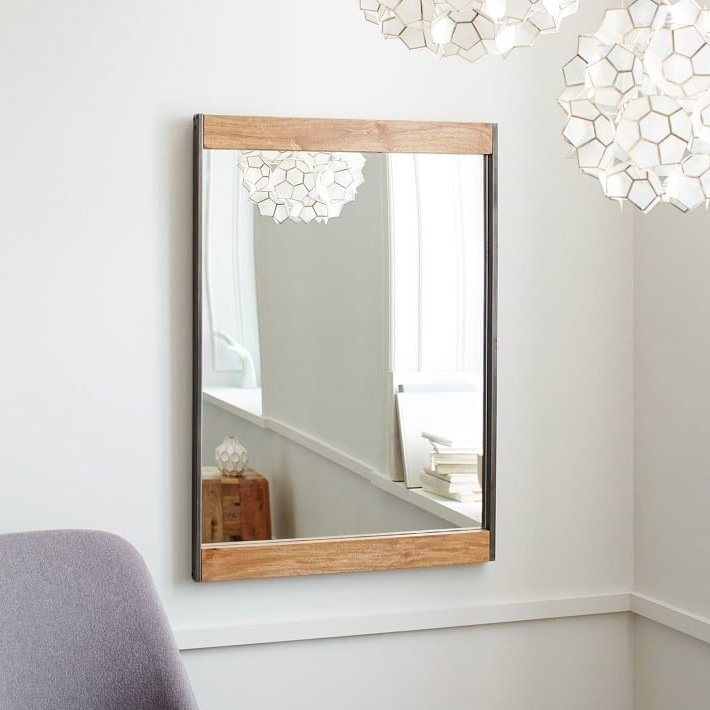 spiegel metall holz lampe badezimmer ideen selbst machen