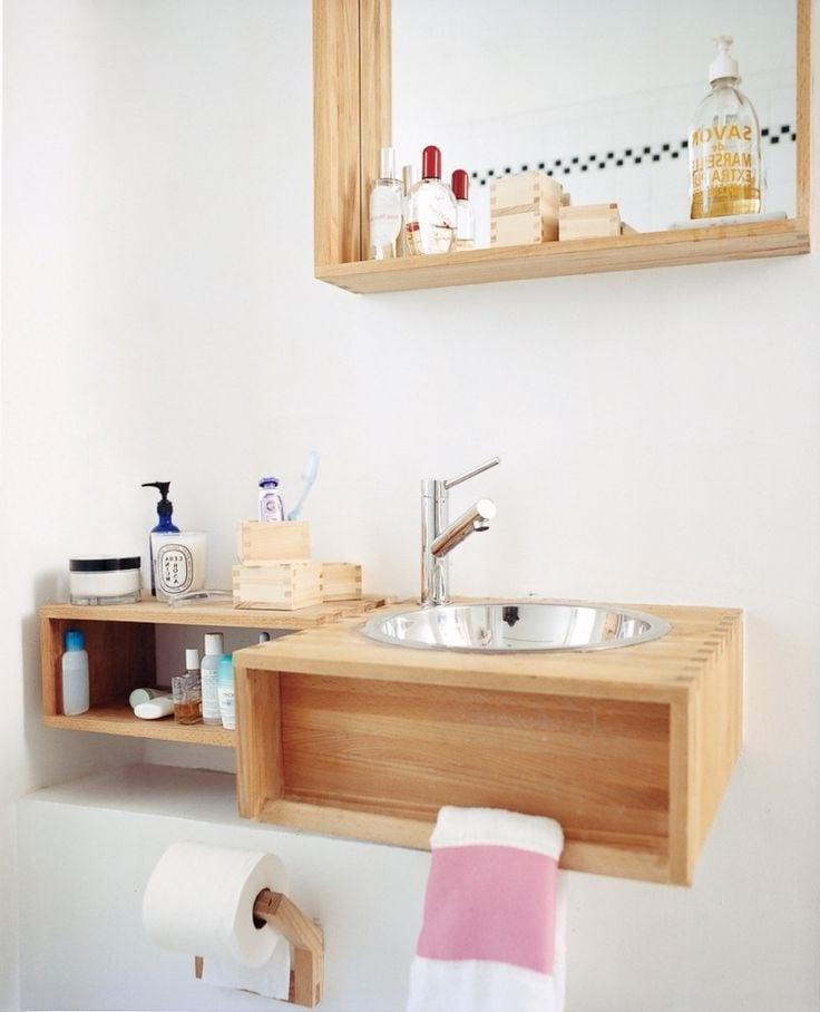 stilvolle aufbewahrung badmöbel badezimmer ideen holz