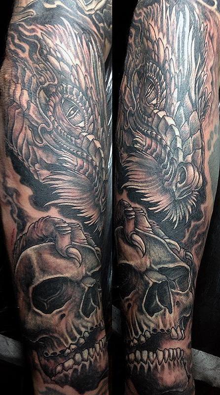 tattoo ideen drache totenkopf tattoos männer