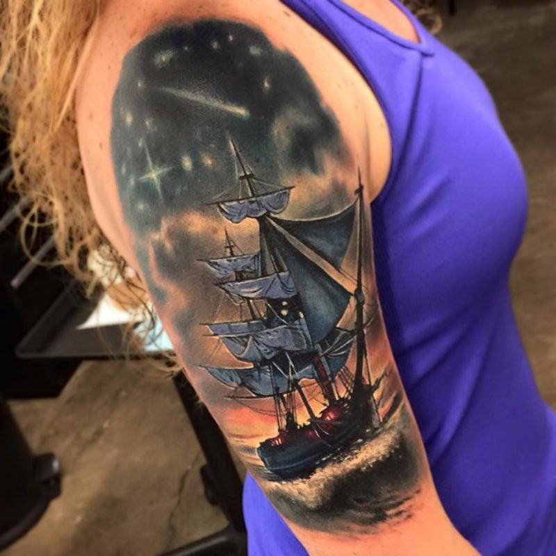 tattoo ideen schiff frauen arm tattoos frauen