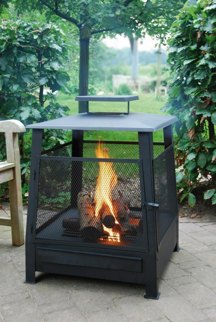 terrassenheizung feuerkorb flamme schwarz design