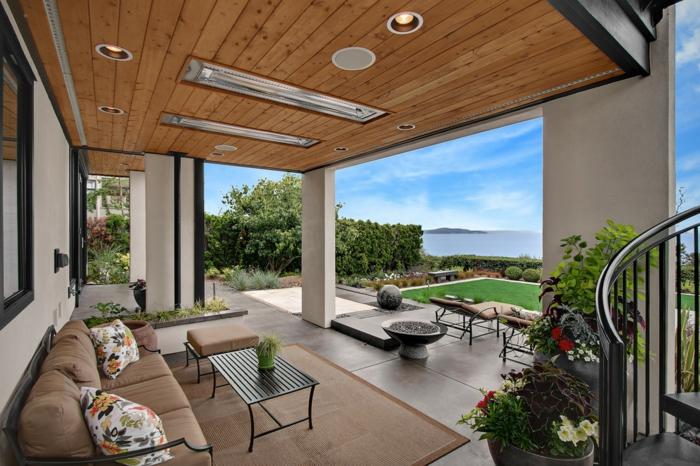 terrassenheizung ideen dachheizung design weiß