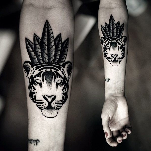 tier tattoo ideen tiger arm tattoo motive frauen männer