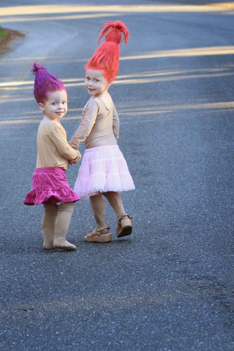 troll einfaches karneval kostüm selber machen haar farben