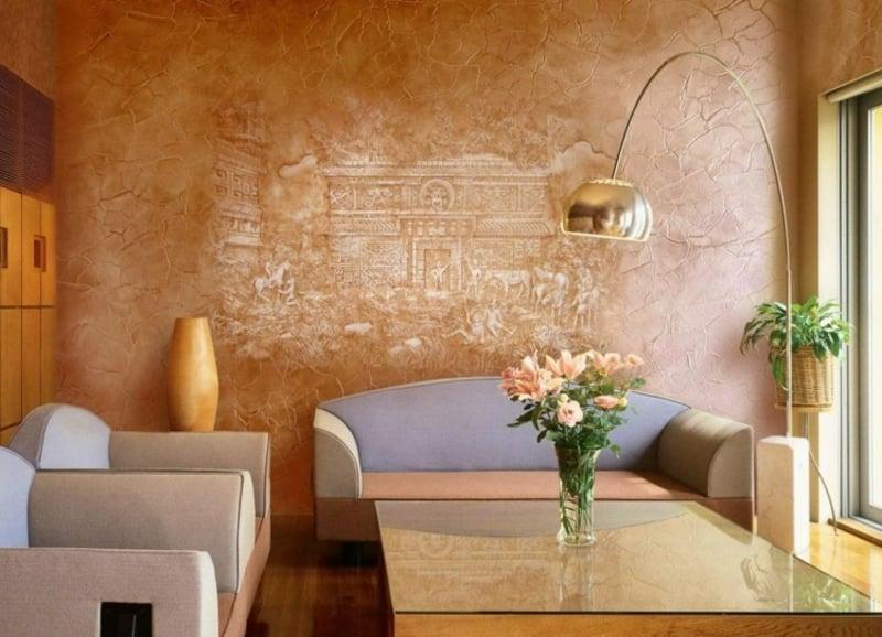 Dekorputz Wandbild Beige und Hellbraun modern