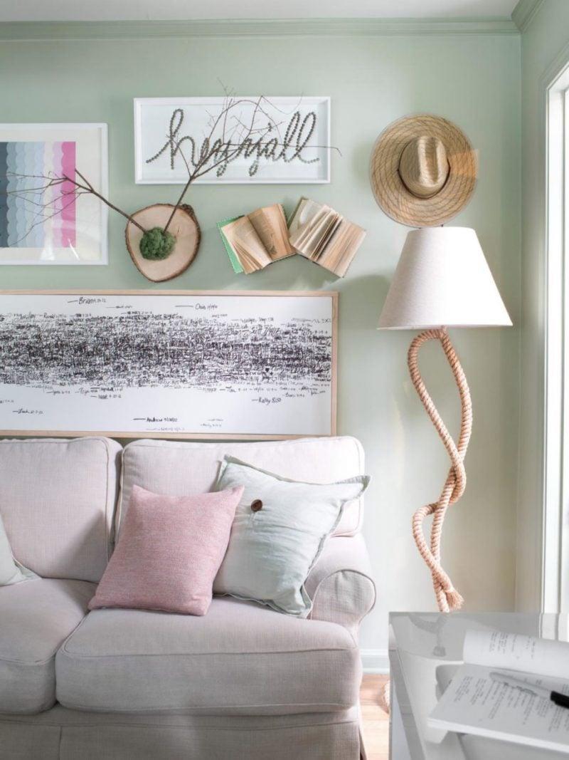 wand dekoration bilder bücher kreative diy deko ideen safa kissen wohnung dekorieren