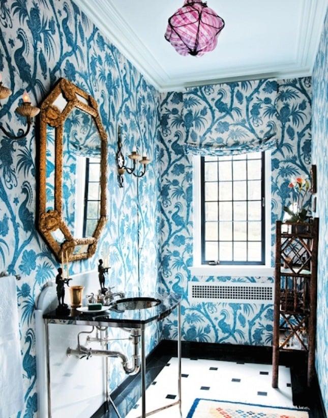 wandtapete farbe marineblau luxus badezimmer ideen modernes bad ideen