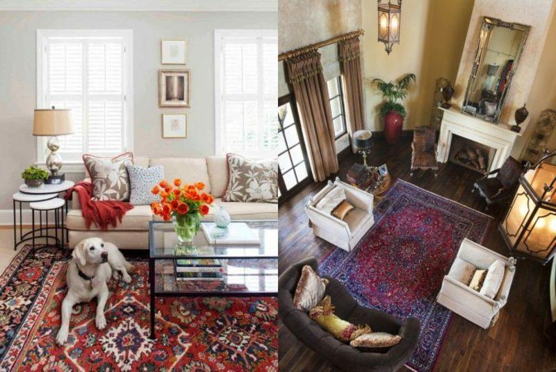 Orientteppich Als Akzent Im Interieur Zwei Wohnzimmer