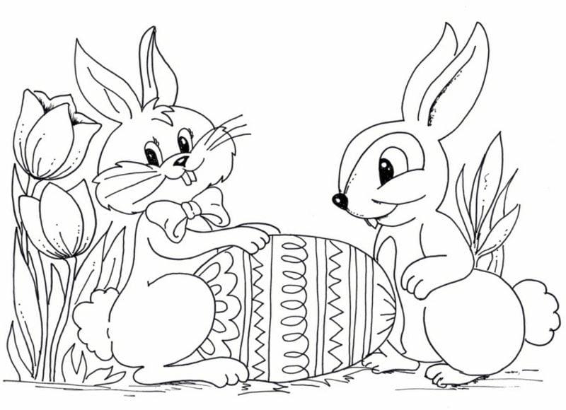 frohe Ostern Bilder zwei Osterhasen mit Ei