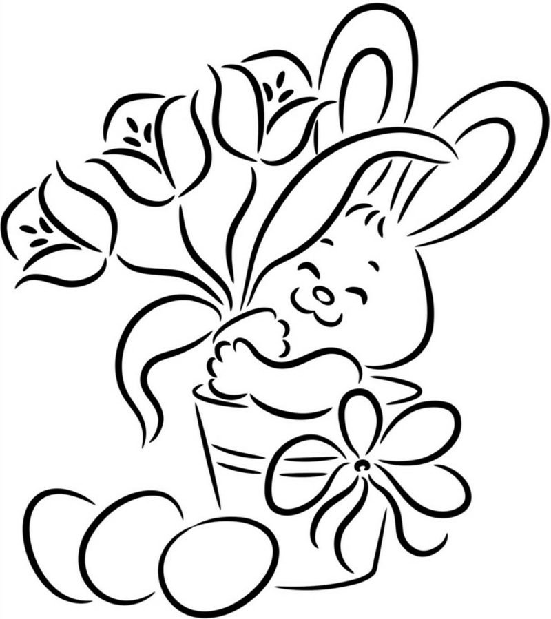 frohe Ostern Bilder Hase mit Blumen
