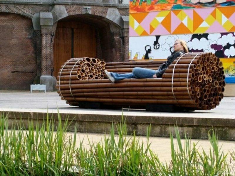 Gartenbank aus Holz Bambus ausgefallenes Design