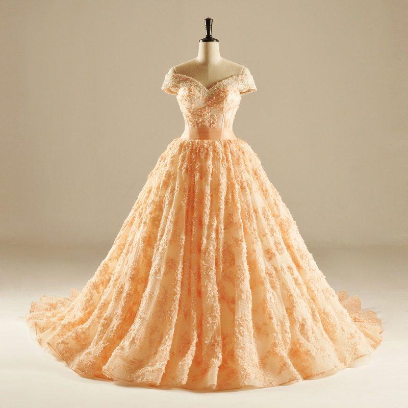 elegantes Hochzeitskleid Apricot Farbe