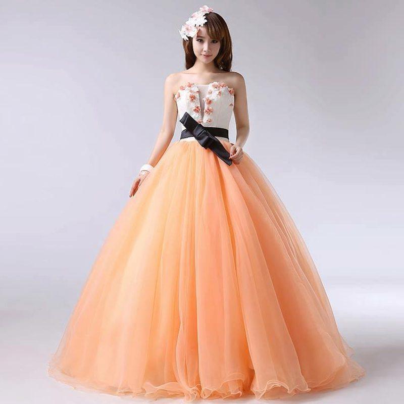 Brautkleid aus zwei Teilen Apricot Farbe