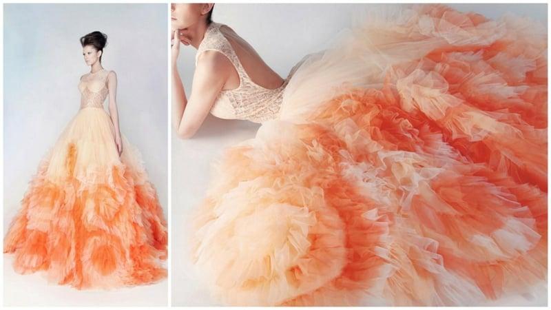 Brautkleid apricot farbe