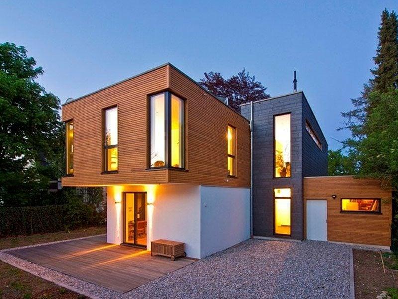Häuser modern herrliches Design geometrische Formen Fertighaus Holz