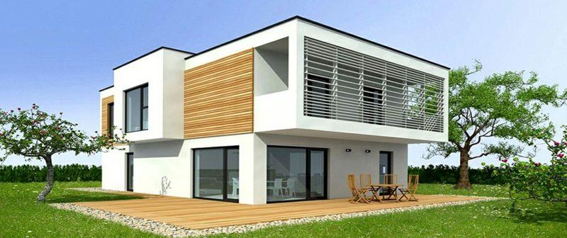 moderne Häuser Fertighaus Fassade im Weiss