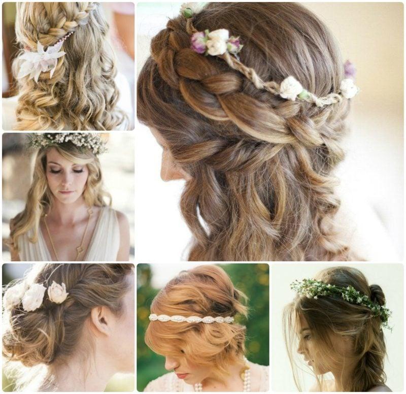 Hochzeitsfrisuren Brautjungfern elegante Flechtfrisuren lockiges Haar