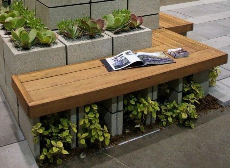 Gartenbank aus Holz kreatve Design Ideen