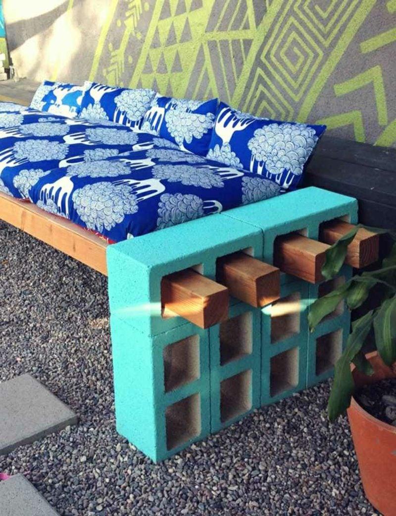 Gartenbank aus Holz selber gebaut herrlicher Look