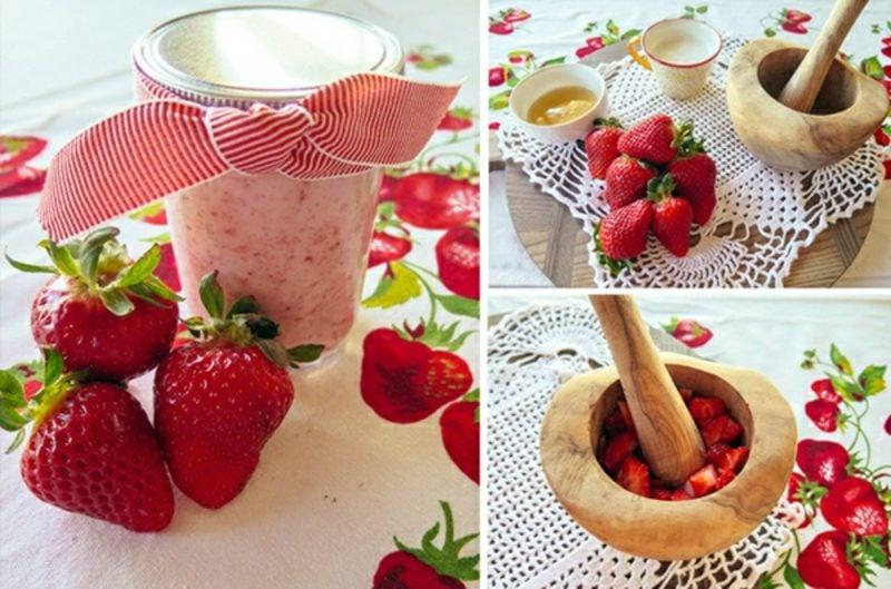 Gesichtsmasken selber machen erfrischende Maske mit Erdbeeren gegen fettige Haut
