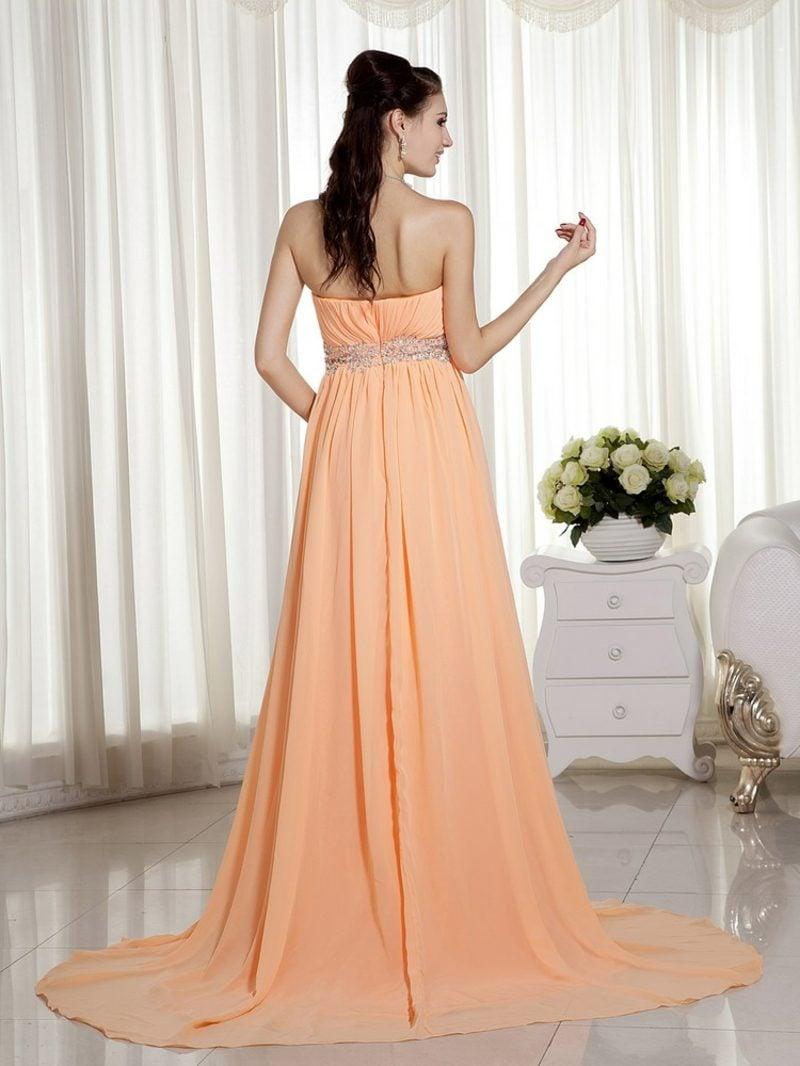 Brautkleid untraditionell Apricot Farbe von hinten