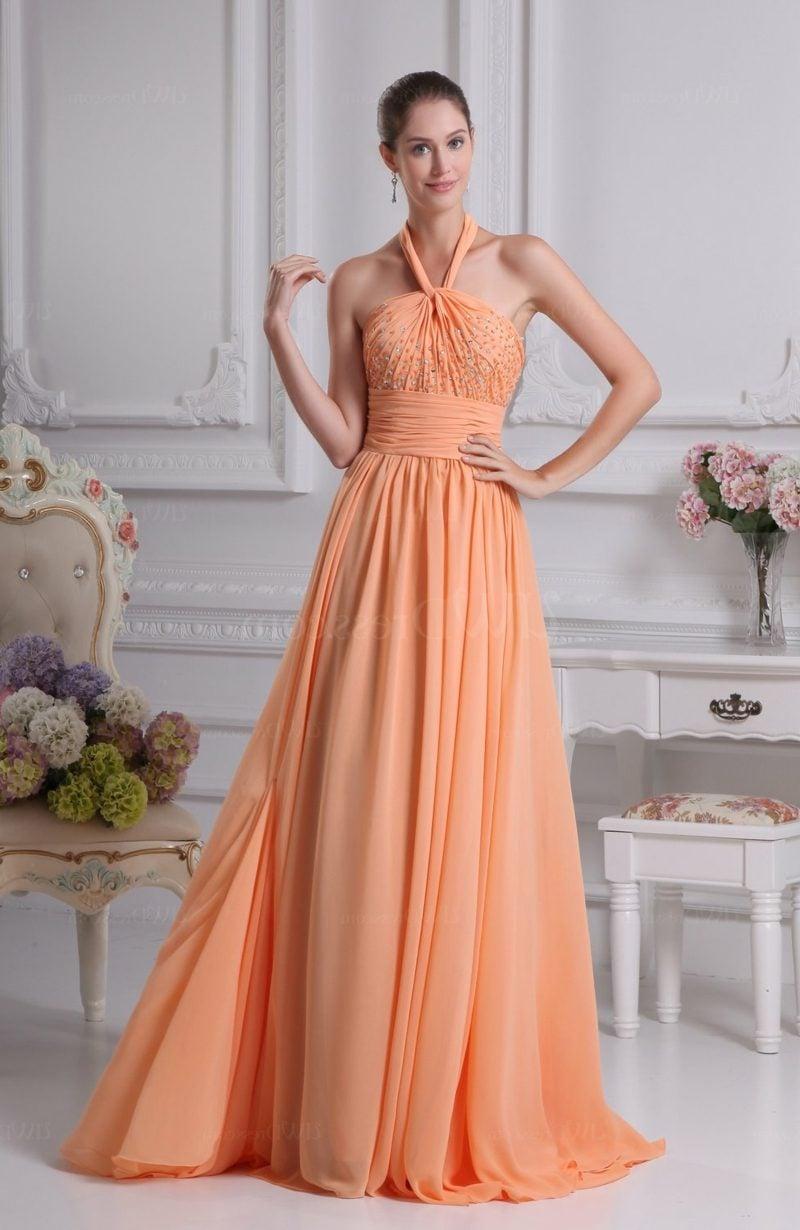 ausgefallenes Hochzeitskleid apricot Farbe