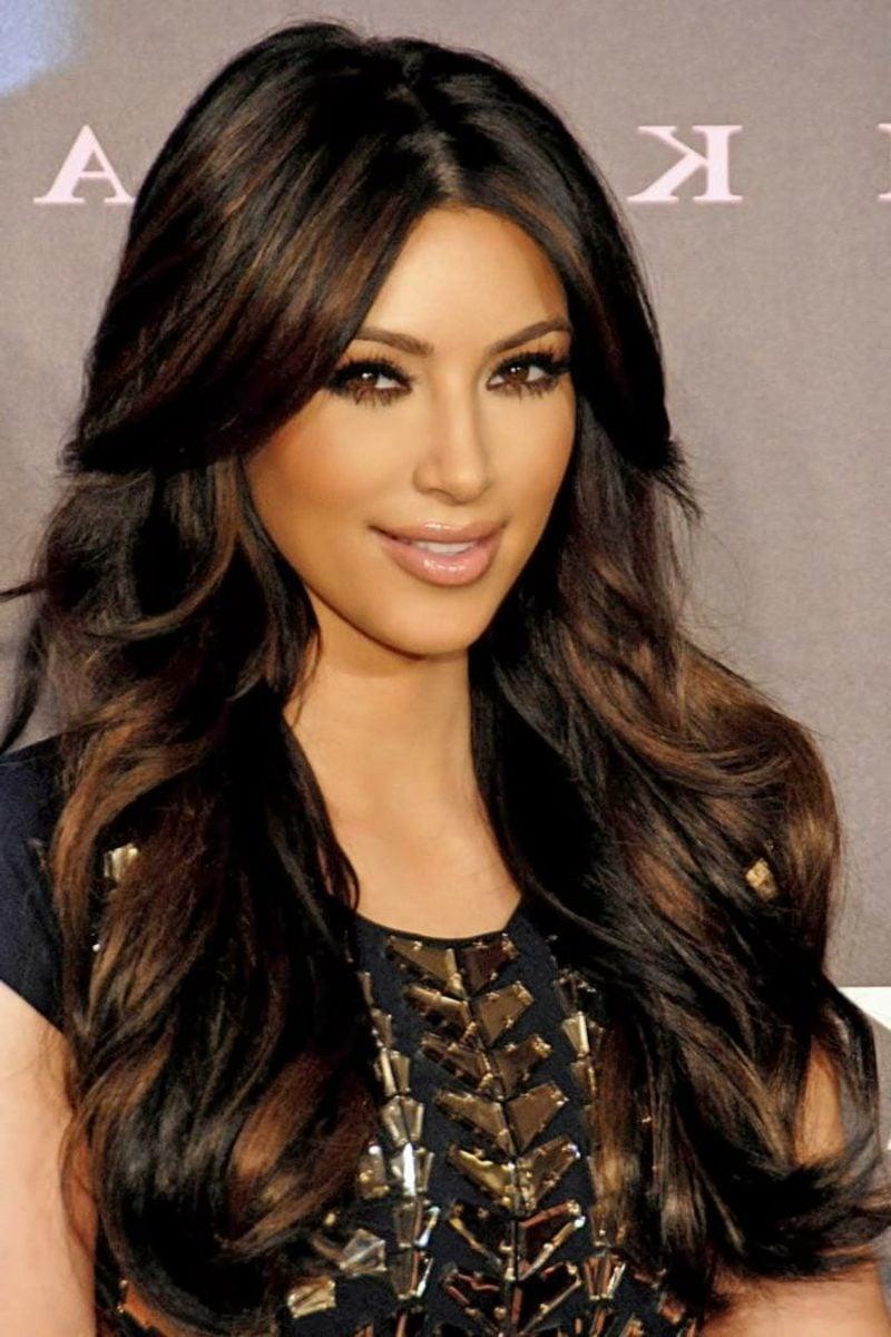 brünette Haare lang Nuance Goldenbraun Kim Kardashian