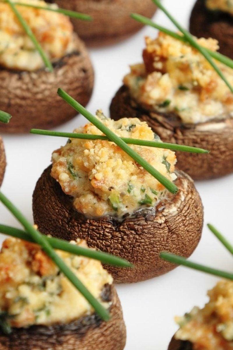 schnelle Partysnacks Pilze mit Käse