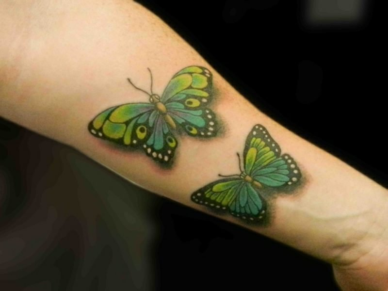Tattoo Schmetterling grün 3D-Effekt