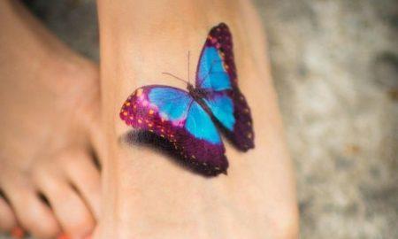 Tattoo Schmettreling Fuss Oberseite 3D-Effekt Schattierung realistischer Look
