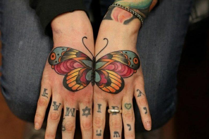 Tattoo Schmetterling Hände Oberseite