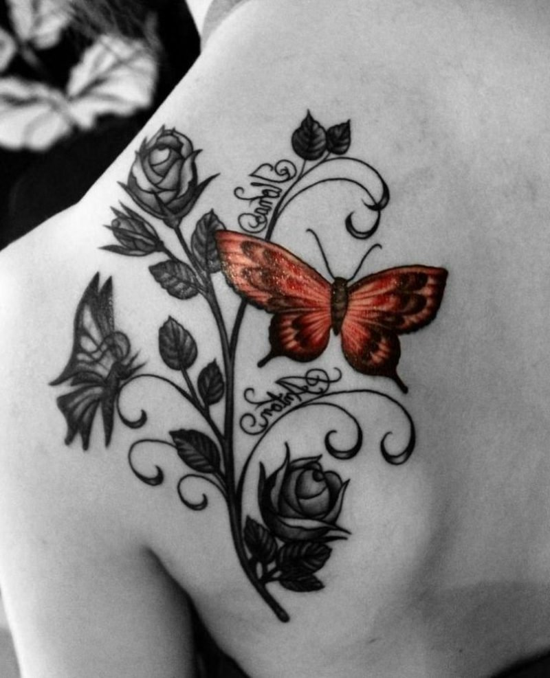Tattoo Schmetterling orange Rosen Namen