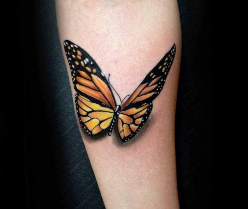 Tattoo Schmetterling Monarchfalter Unterarm