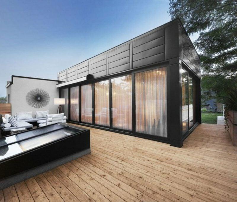 Terrassengestaltung modern Bodenbelag Holz