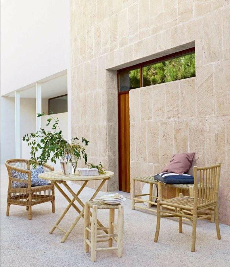 Terrassengestaltung im skandinavischen Stil Bambusmöbel